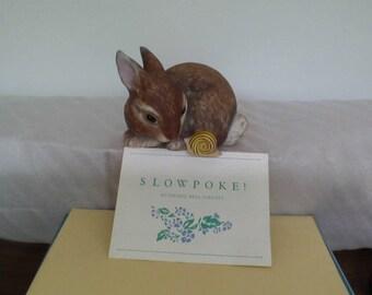 """Vintage Bunny and Snail figurine """"Slowpoke"""" Franklin Mint by Debbie Bell Jarratt"""