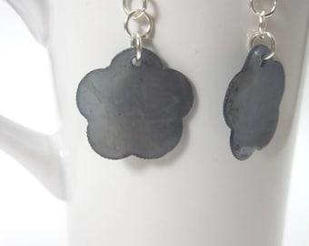 Blue-grey Capiz Shell Flower Earrings
