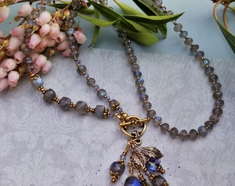 Labradorite and Apatite necklace with fauceted square cut, faceted drop, faceted Apatite, Vintage Swarovski crystal any occasion Kiowa Rose