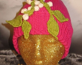 HALF PRICE SALE Digital pdf file knitting pattern - madmonkeyknits Mistletoe Beanie Hat pdf knitting pattern