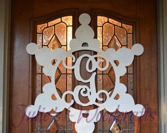 Wooden Monogram Snowflake Ornament Door Hanger