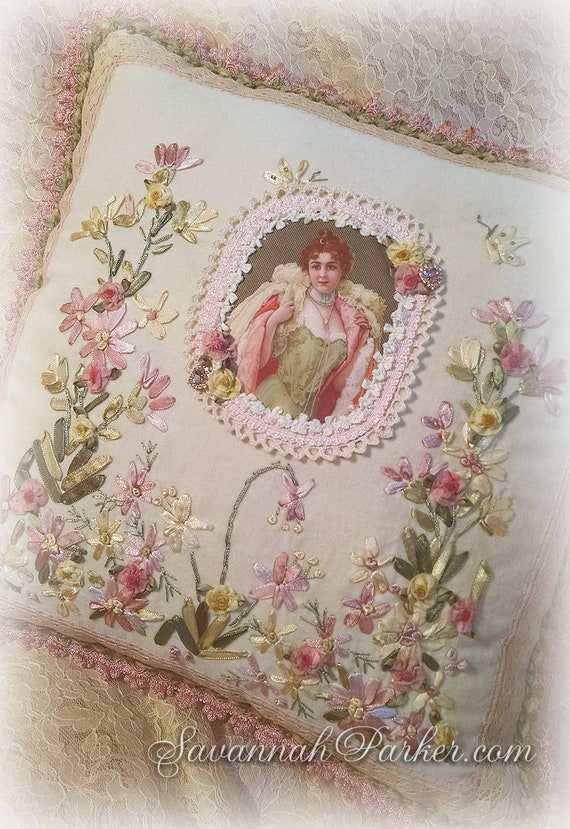 Antique Style Romantic Victorian Lady Exquisite Ribbon Embroidered Pillow - Antique Lace - Lavish Ribbonwork - Shabby Chic Romantic Roses