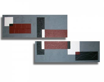 Black White grey Burgundy Red diptych painting modern contemporary art