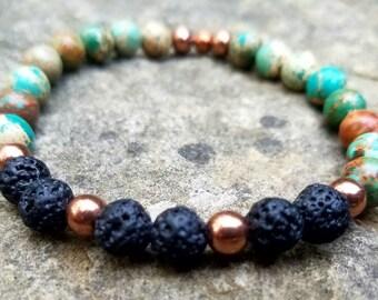 Blue Sea Sediment, Lava Rock & Copper Aromatherapy Bracelet