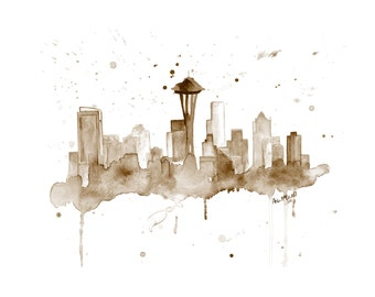 Seattle Skyline Art - Seattle Skyline Painting - Seattle Washington - Cityscape Art Print - Seattle Skyline Print - Seattle Art Skyline Art