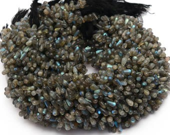 Labradorite Tear Drop Beads with Bluish fire  5x8 mm beads  13 inch Strand- Natural Labradorite Semi Precious Gemstone  Free shipping.