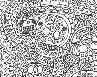 Day of the Dead Sugar Skull adult printable coloring page Dia