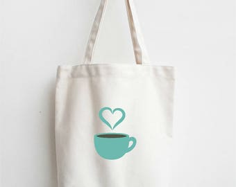 Coffee Tote | Coffee Cup Tote Bag | Farmers Market Tote | Printed Tote | Reusable Tote | Coffee Gift | Gift for Coffee Lover| Coffee Bag