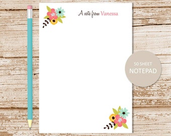 flower note pad . personalized notepad . floral corners . botanical notepad . womens personalized stationery . flowers stationary