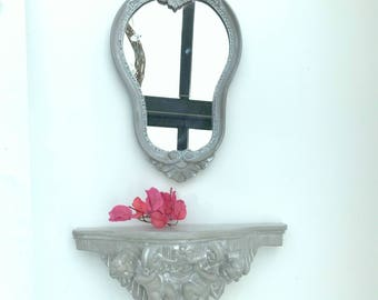 Mirror in wood & console plaster Angel