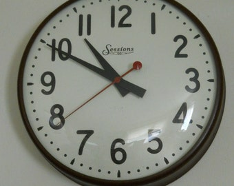 Industrial Decor Clock Brown Metal / Large 40s Sessions Hanging School / Factory / Rustic Wall Clock Architectural Salvage
