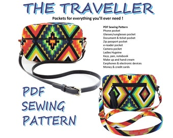 The Traveller PDF Bag Sewing Pattern. Cross-body multi-pocket Purse pattern. PDF Bag sewing pattern. Purse Patterns and tutorials