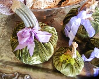 Set of four Green Fabric Pumpkins with dried Pumpkin Stems, Gift for Women, Hostess Gift