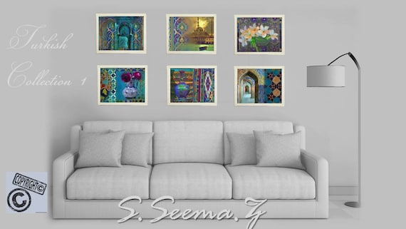 TURKISH SCENE-Set of 6 - 8x10-Prints,Blue, Floral,Tiles Wall Art, Ethnic Corridor, Exotic, Blue, Paper and Canvas,