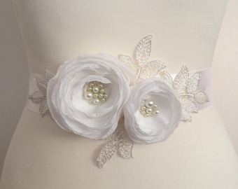 Ivory Bridal Sash Rose Belt Wedding Flowers Pearls Sash