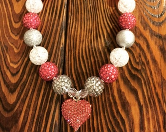Beautiful Pink Rhinestone Heart Chunky Bead Necklace with white and silver.  This necklace is stunning and is 18 inches long. RTS.