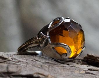 Bague Citrine, bague Bohème, anneau de pierres précieuses, ring gypsy, grande bague, bague de cocktail, bague deux tons, bague boho, unique R2167 - Bright lumière-