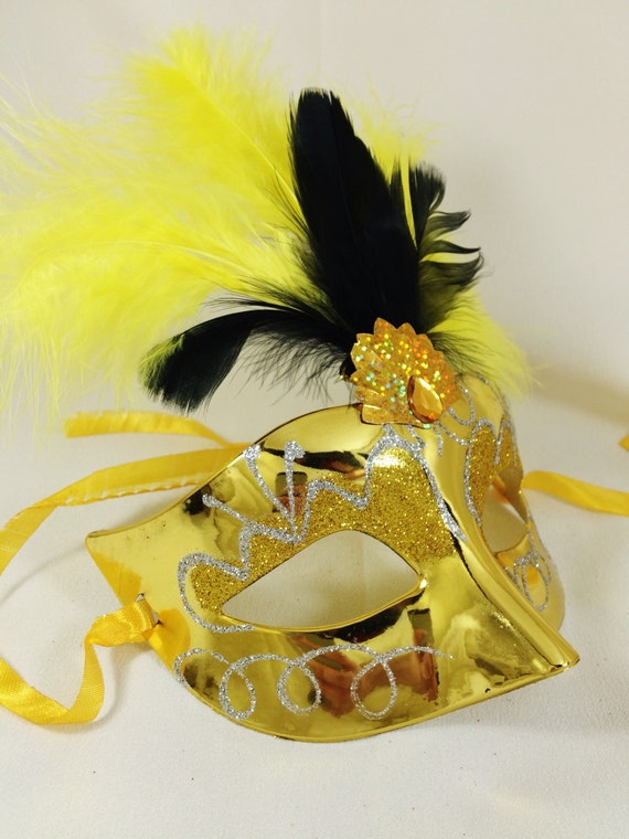 Half-face Masquerade Mask in Yellow Gold With Black & Yellow
