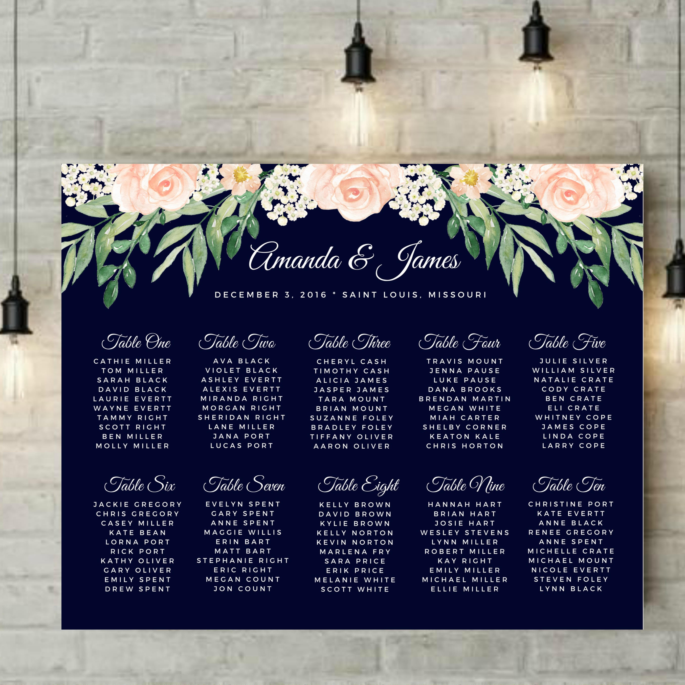 Floral Wedding Seating Chart Blush and Navy Wedding