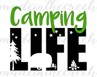 Camping Life, Trailer, Vintage, Outdoors, Summer, Starry Night, SVG File, Digital Print, PNG, PDF, Cut File, Silhouette, Cricut