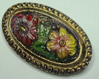Czech Glass Button - oval - hand painted - flowers, green, red, yellow, gold (S026)