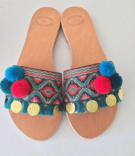 "On ""Aphrodite PomPom Slip PomPom Slip sandals FxOH4"
