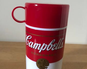 """Vintage Campbell's Soup Thermal Flask* 11.5 oz. 7"""" T** Soup-Can-Tainer* 1998*"""