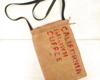 Burlap Coffee Bag Cross Body Bag Eco Friendly Long Leather Strap Shoulder Bag