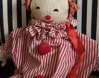 Circus Clown - Vintage Doll Handmade Red
