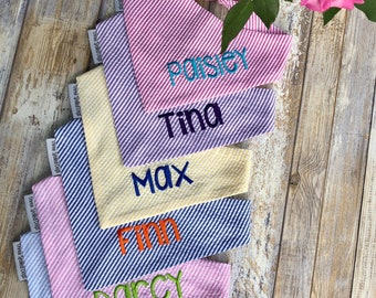Personalized Seersucker Dog Bandana  -  Yellow Custom Monogrammed Pet Bandana  - Best Custom Personalized Pet Gifts by Three Spoiled Dogs
