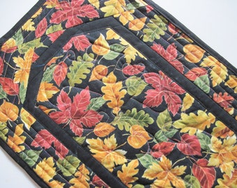 Quilted table runner Fall Leaves Rust brown gold black free shipping  Quiltsy handmade