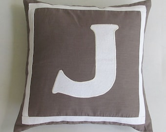 Gray taupe monogram. custom  made  letter  pillow . monogram  of  your  choice.   18inch custom made - personalized pillow  cover  only.