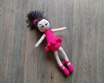 Ballerina crochet doll Amigurumi Ballet dancer Stuffed dancer doll Tutu toy Dance recital gift for girl