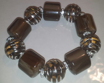 Brown silver chunky beaded bracelet