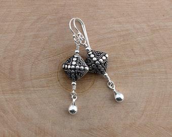 Balinese Sterling Silver Earrings, Bali Silver Dangles, Bali Silver Earrings, Bali Jewelry, Balinese Silver Dangle Earrings