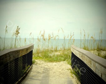 Florida Beach Photography // Vintage Look Beach Photograph // Filter Photography // Beach Walkover Print