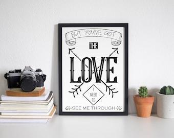 Florence + the Machine Lyric Typographic Art