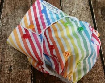 One Size Cloth Diaper Cover AI2 Diagonal Candy Stripes All in two 15-40 lbs PUL