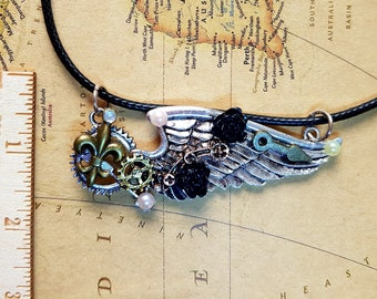 Steampunk victorian bespoke assemblage necklace