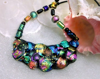 Statement Necklace in Dichroic Glass, Kiln Fired Fused Glass, Jewelry For Mermaids,  Bubble Choker, Art Glass Bib Necklace