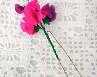 "Set of hairpins ""Sweet pea"" made of air dry polymer clay"