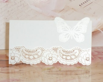 20 x 3D Butterfly Laser Cut Place Cards Pearlescent Shimmer High Quality
