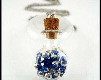 Glass bottle pendantl, blue silver crystal, little magic bottle, teenager jewelry, little girl necklace, Renaissance, 25 off ship