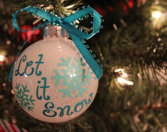 Let It Snow Bulb Ornament White Glitter