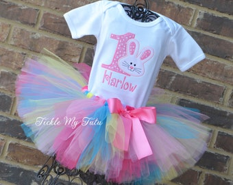 Bunny Birthday Tutu Outfit- Some BUNNY is One (Any Number) Birthday Tutu Set- Easter Birthday Tutu Outfit