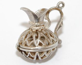 Vintage Grecian Pitcher Sterling Silver Bracelet Charm 3d Detail (4g)