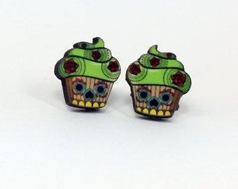 Sugar Skull Cupcake Earrings