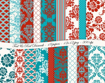 Teal and Red Damask digital scrapbooking paper pack -18 printable jpeg papers, 12x12, 300 dpi - instant download