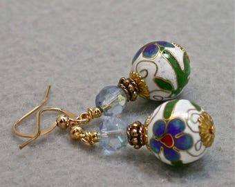 Vintage Chinese White Cloisonne Bead Dangle Drop Earrings Cobalt Blue Flower, Austrian Blue Crystal Bead, Gold French Ear Wires