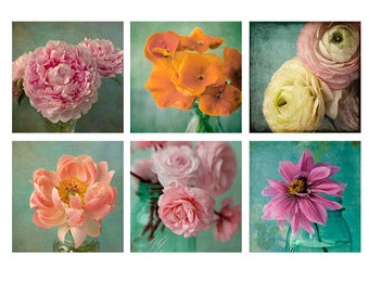 Flower Art Set, Six Flower Prints, Aqua Decor, Bright Wall Art, Peony Print, Ranunculus Art, Flower Photography